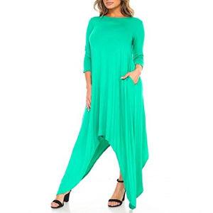 Green 3/4-Sleeve Shark Bite Dress size 2X NEW